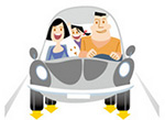 Happy Family in Car Cartoon