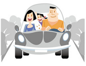 Cartoon family in car
