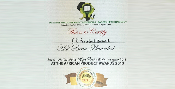GT Radial Receives Best Automobile Tire Product Award at 2013 African Product Awards