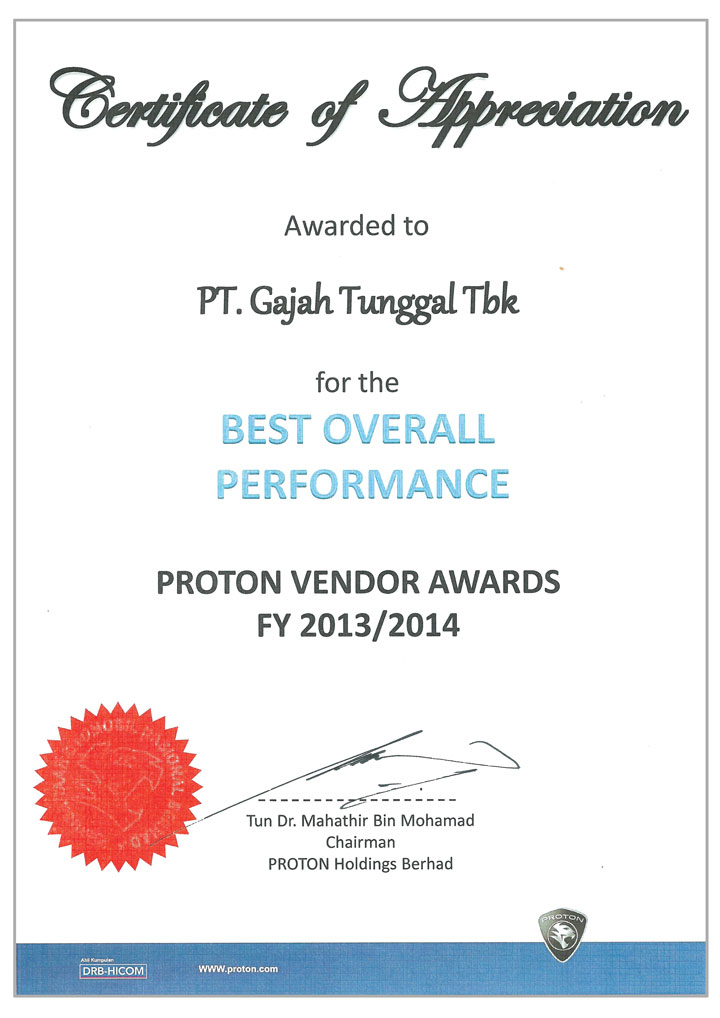GT Radial Won the Best Quality Performance and the Best Overall Performance of Proton Vendor Awards for 2013/2014
