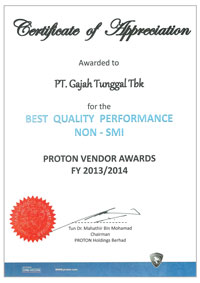 GT Radial Won the Best Quality Performance and the Best Overall Performance of Proton Vendor Awards for 2013/2014<br> <br>