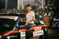 Alinka from TTI Shows Her 'Girl Power' in <br> GT Radial Indonesia Night City Slalom 2015 1st series<br>